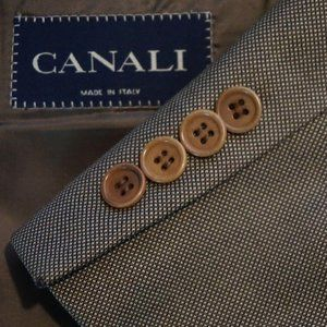 Canali Brown Woven 100% Wool Sport coat Jacket 44